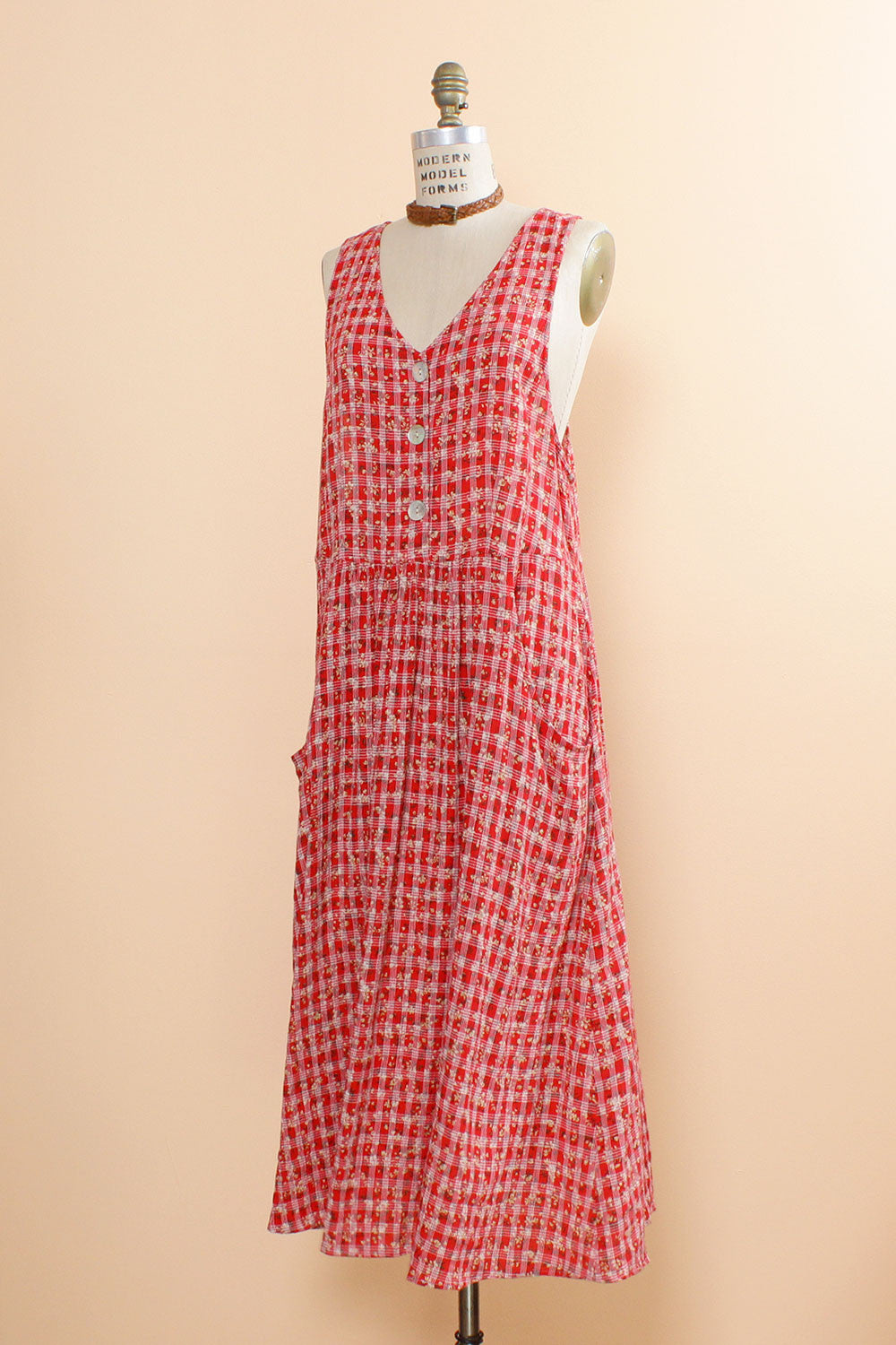 Picnic Time! Rayon Smock Dress L
