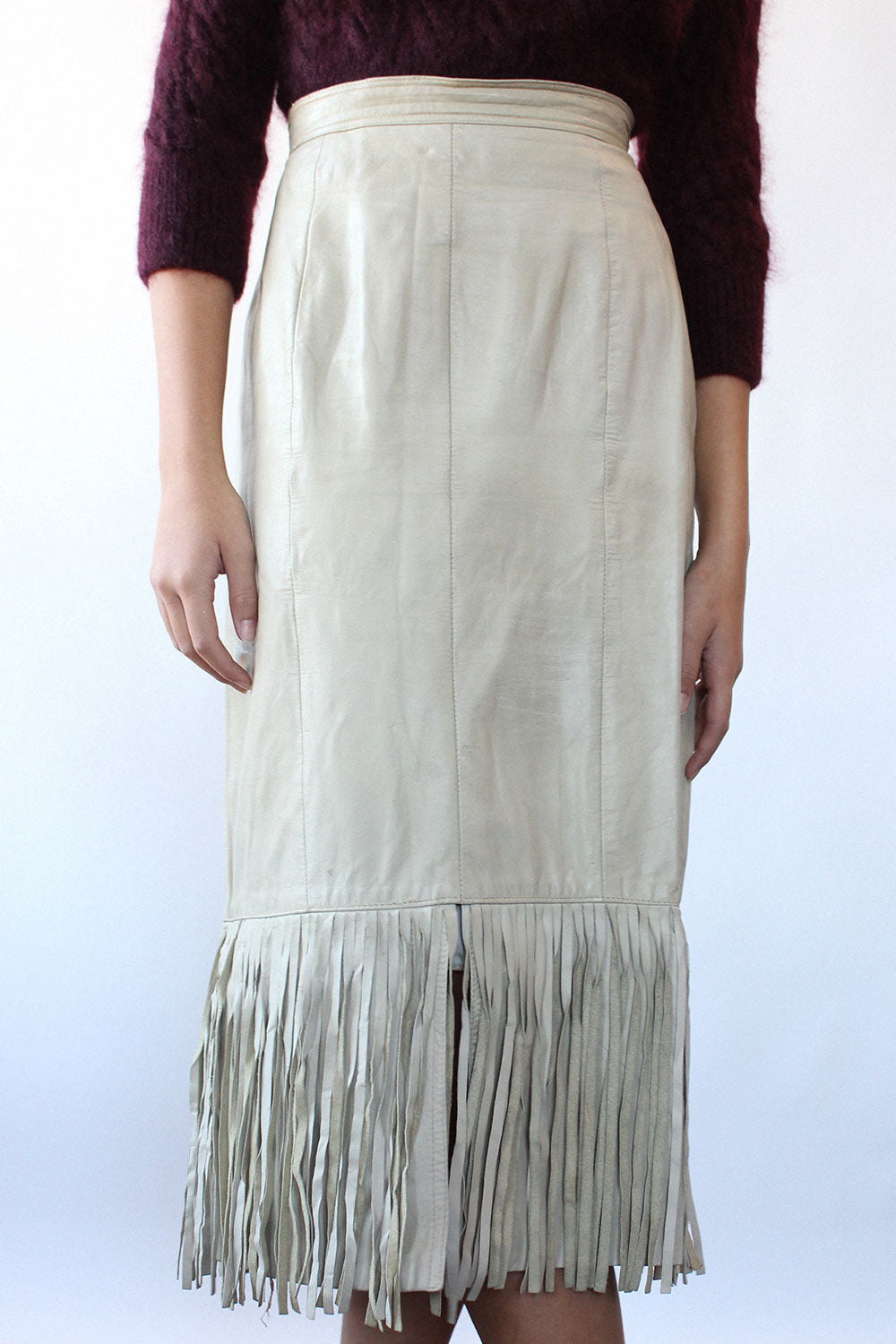 Beige Leather Fringe Skirt M/L