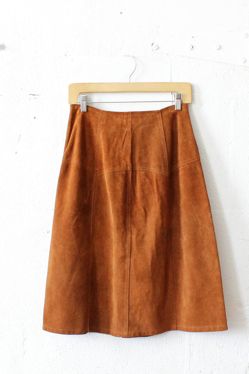 70s Suede Snap Skirt S/M