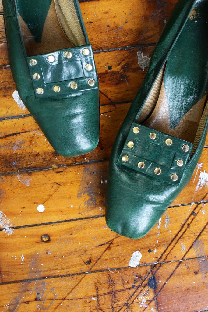 Green Pilgrim Heeled Loafers 9