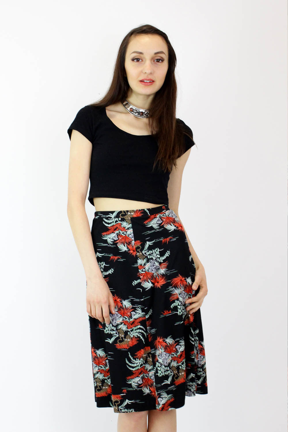 70s Jungle Flare Skirt S/M