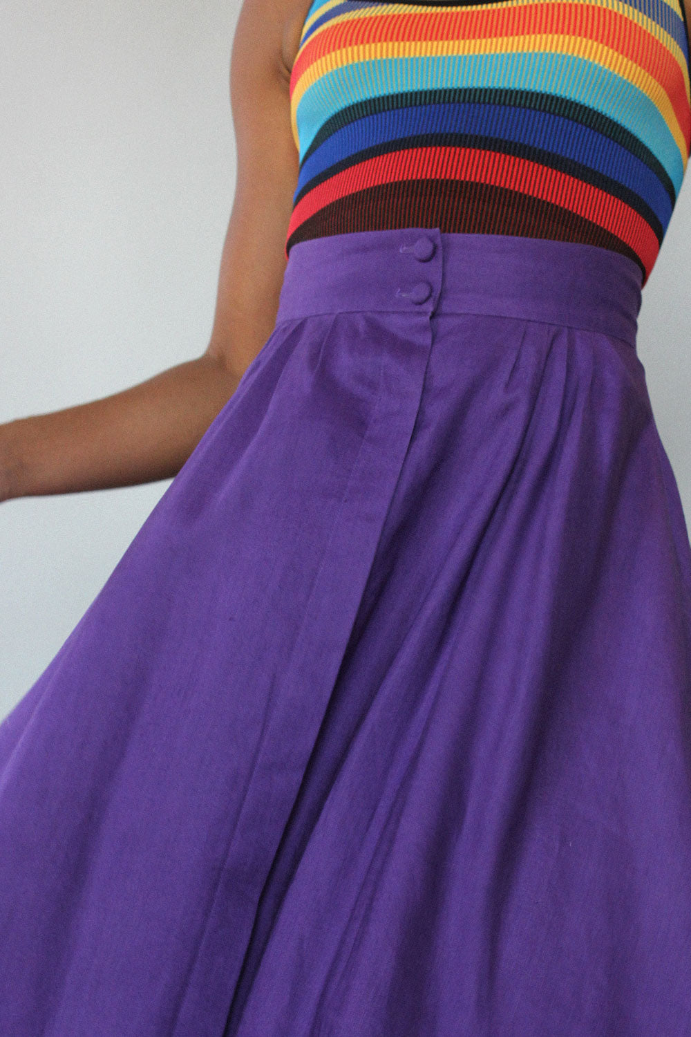 Grape Linen Tea Skirt S