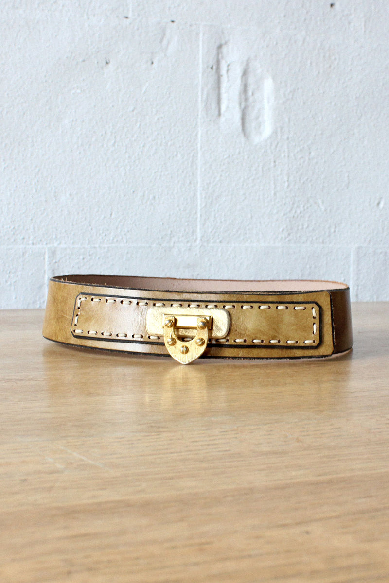 Pecan Leather Hinge Belt