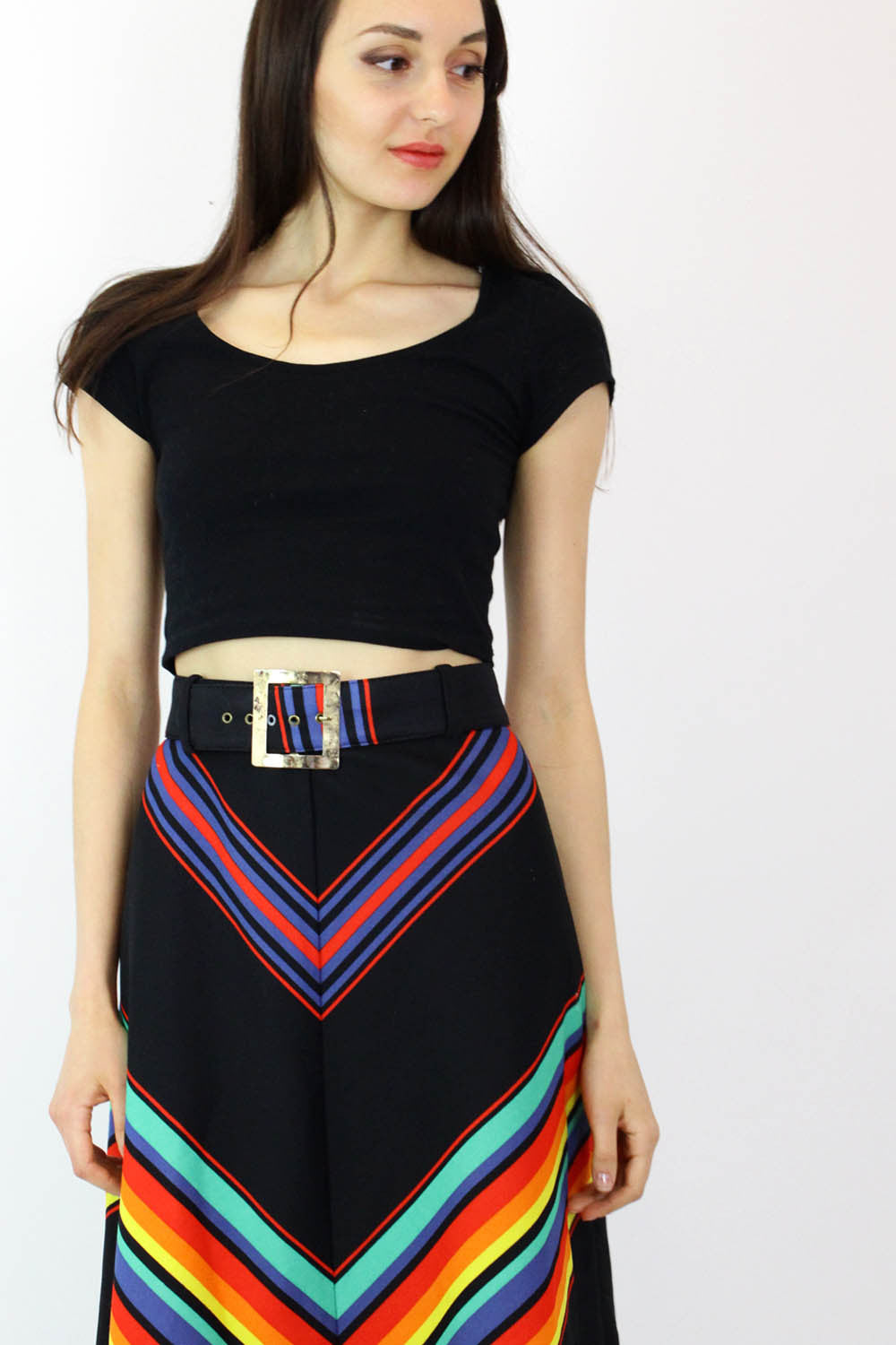 70s Rainbow Chevron Skirt M