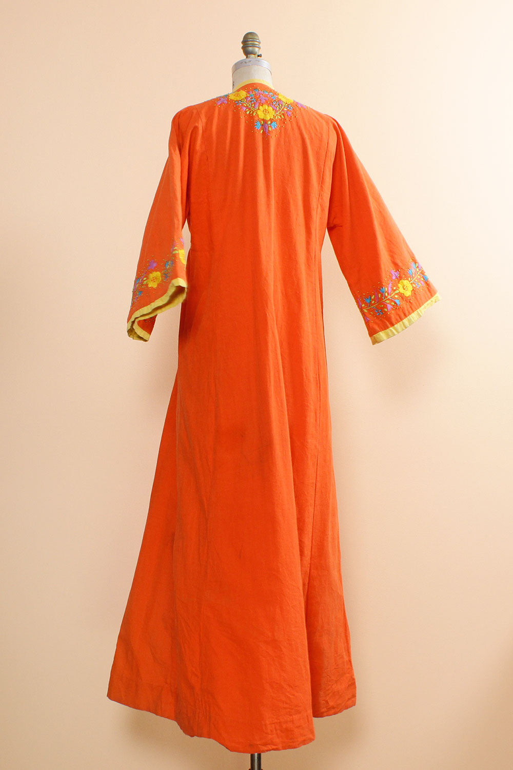 Coral Embroidered Caftan
