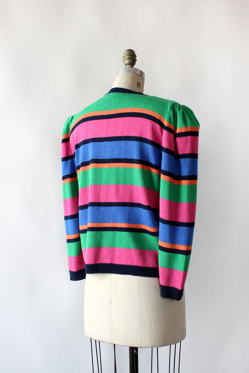 Laura Striped Cardigan L