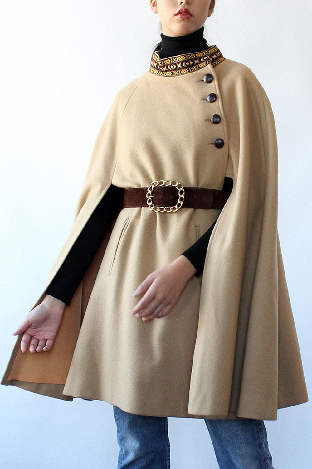 Camel Tapestry Collar Cape