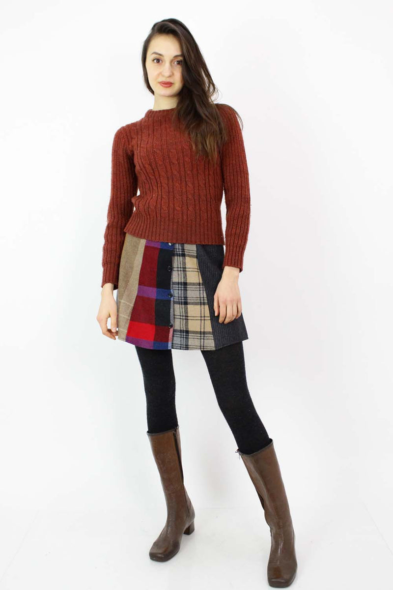 Mixed Plaid Mini Skirt S