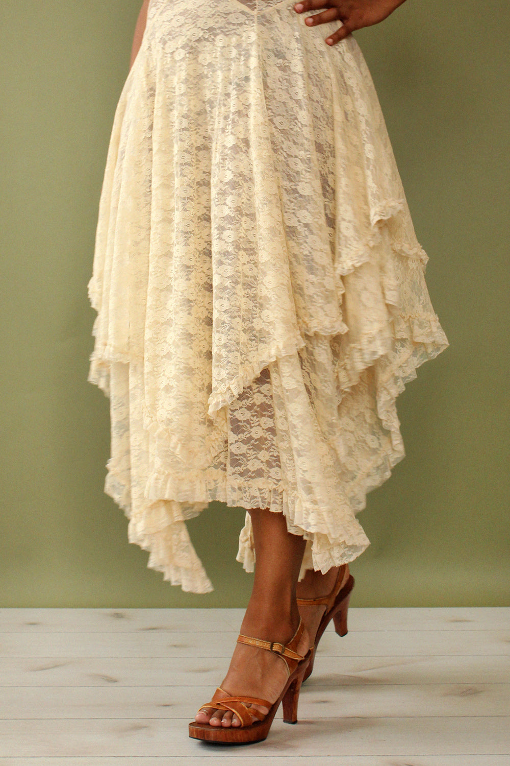 Cream Lace Tier Dress S-L