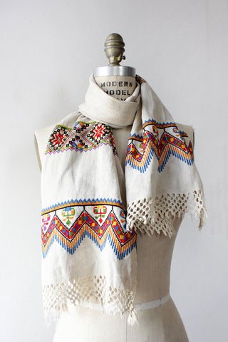 Ana Cross Stitch Embroidered Scarf