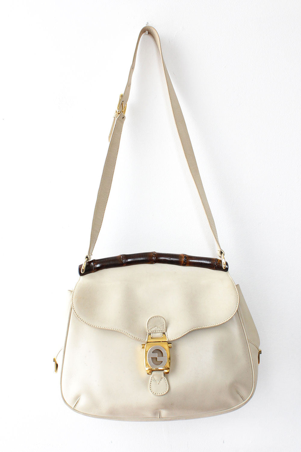 Cream Gucci Bamboo Frame Hobo Bag