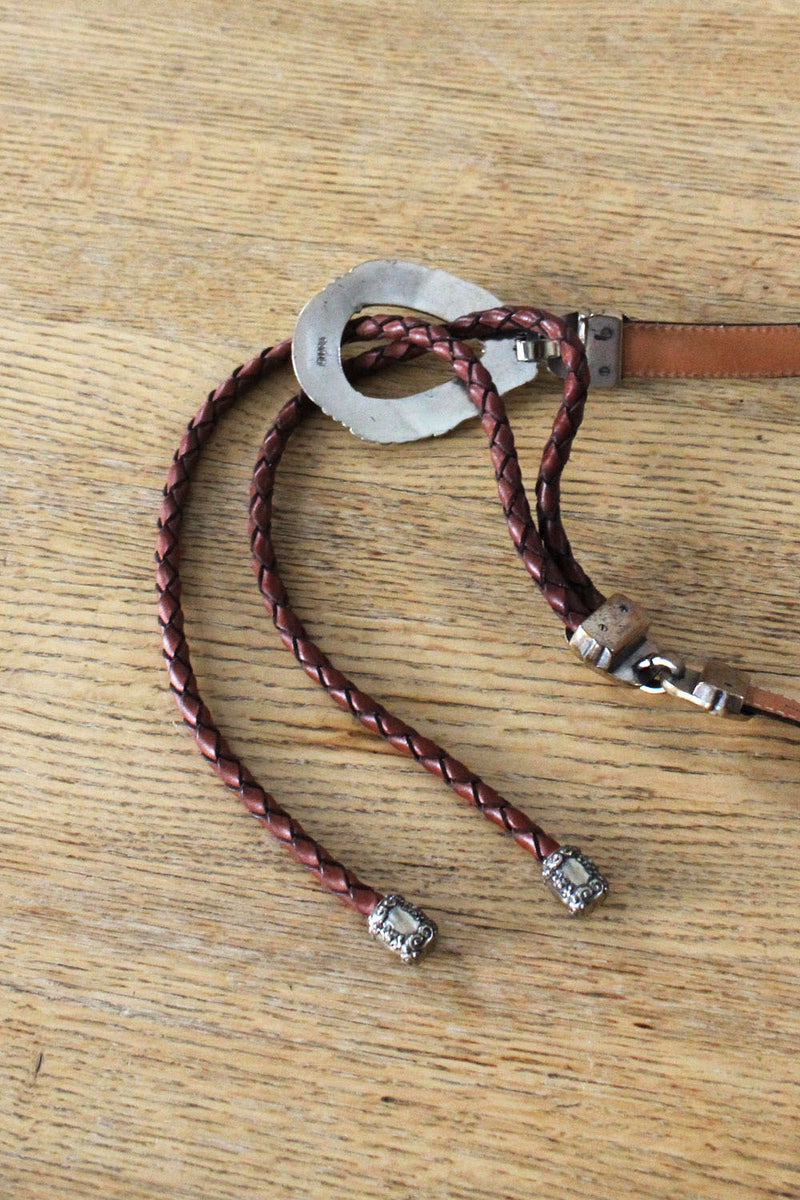 Braided Leather Sling Belt