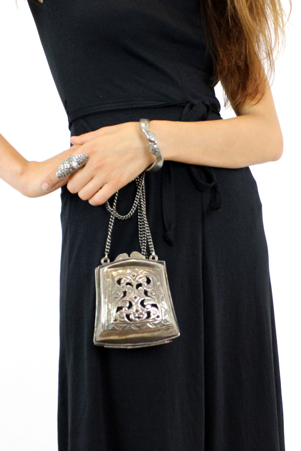 Silver filigree bag