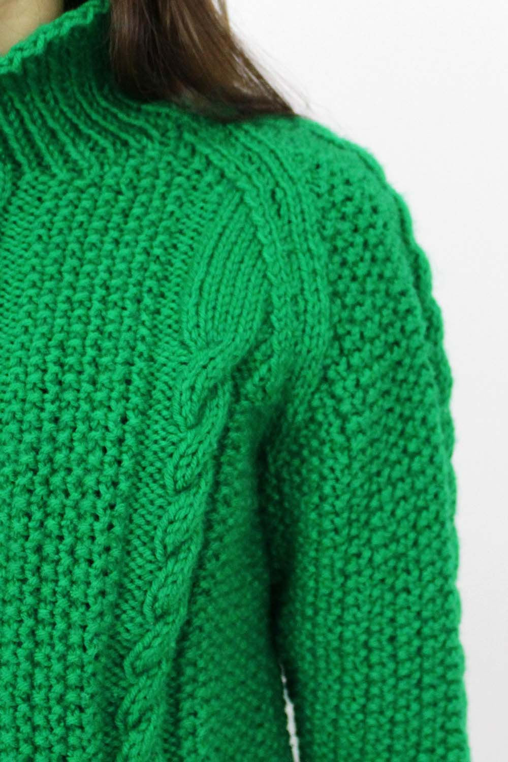 Greener Than Green Chunky Knit Sweater S/M