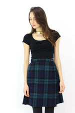 Navy & Hunter Plaid Pleat Kilt Skirt S/M