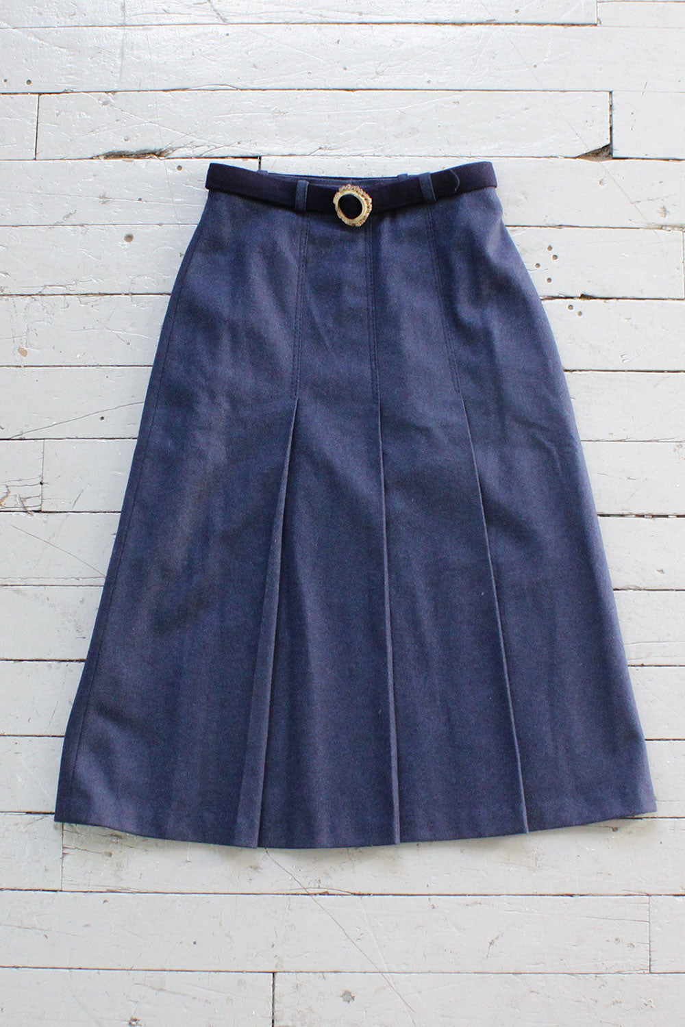 Blue Wool Antler Buckle Skirt S