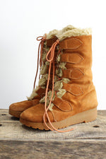 70s Suede Sherpa Boots 6.5
