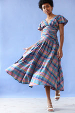 Ruched Plaid Flutter Dress XS/S