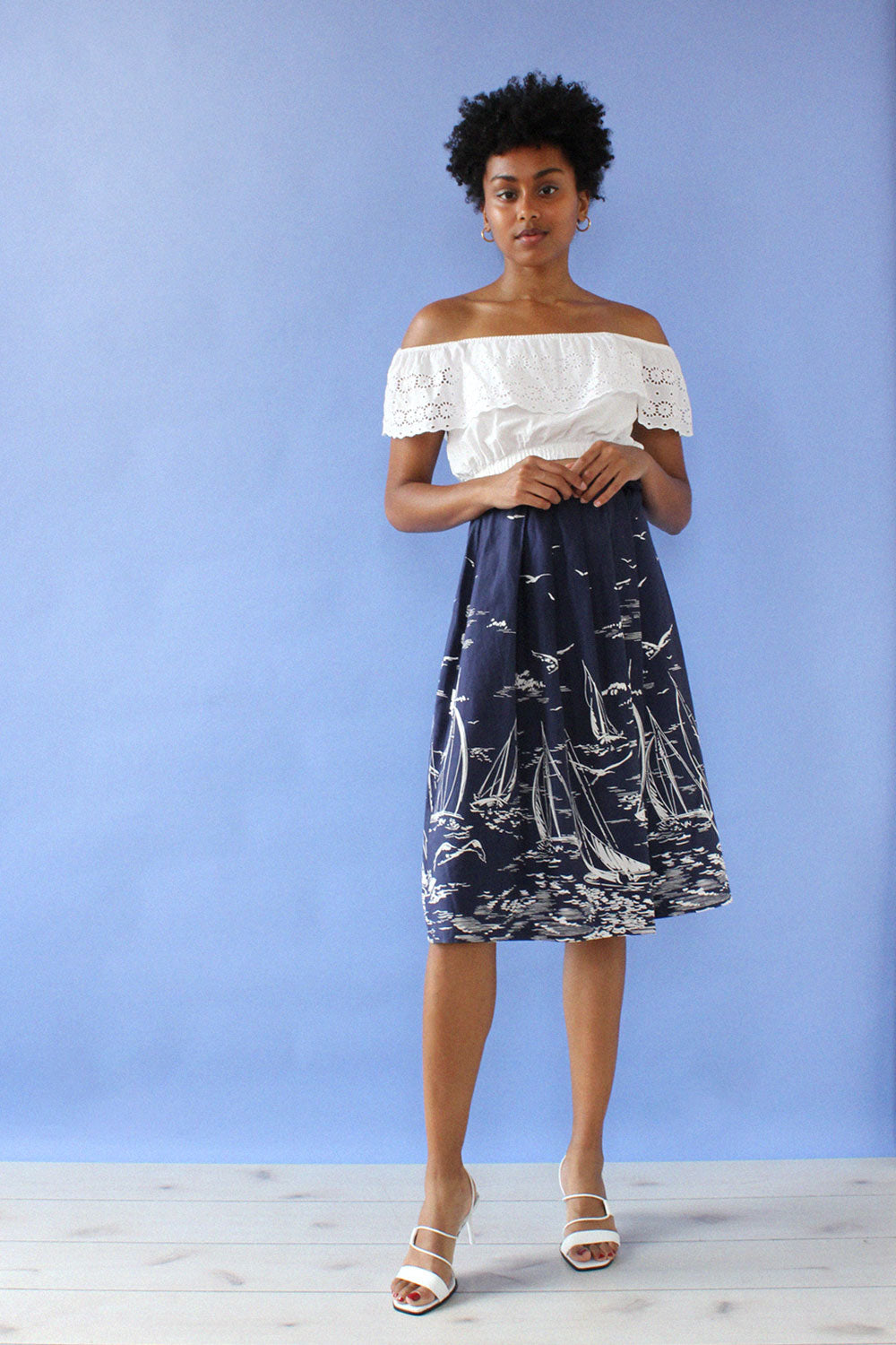 Navy Nautical Print Skirt XS