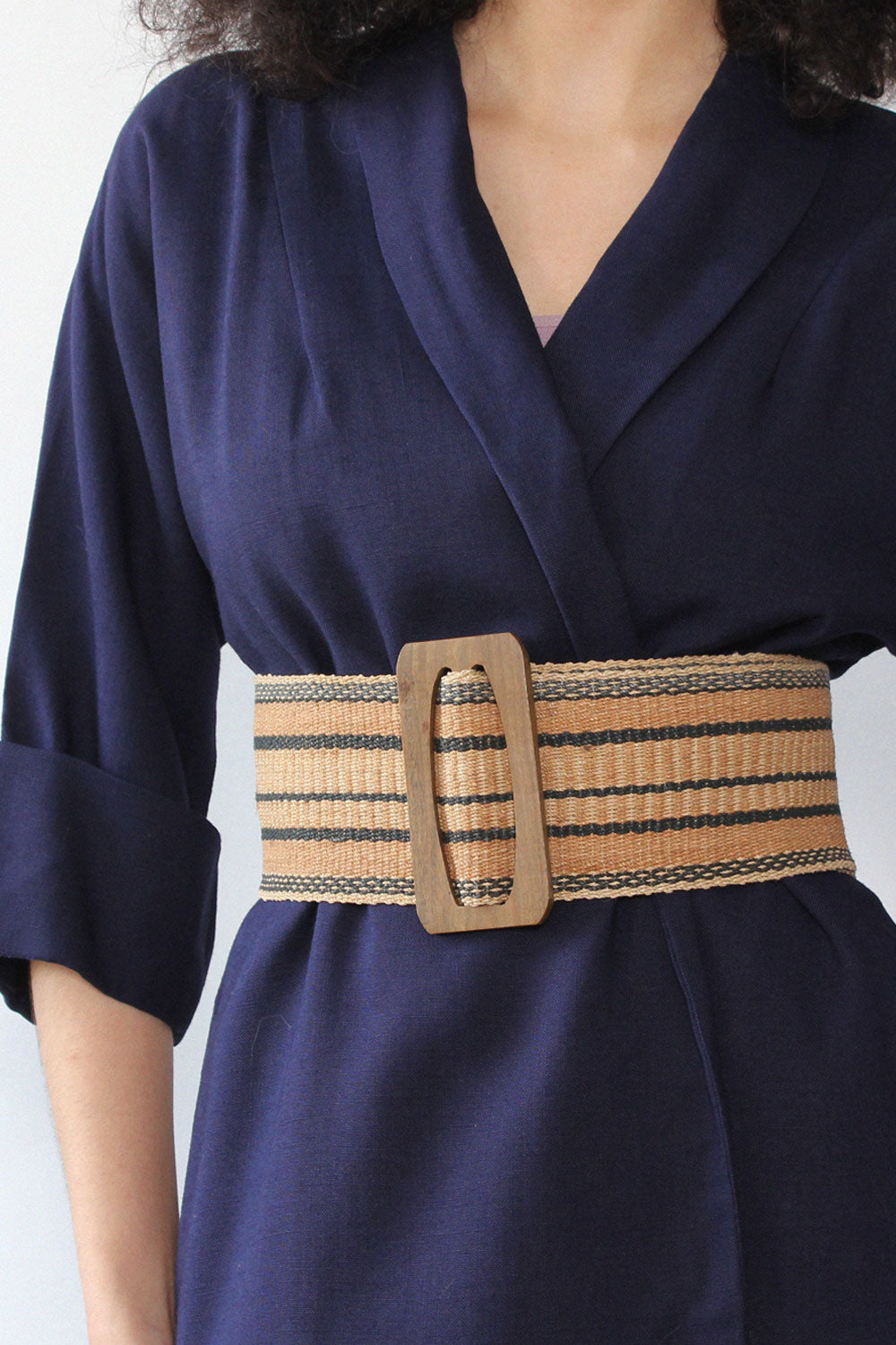 Wide Sisal Stripe Belt