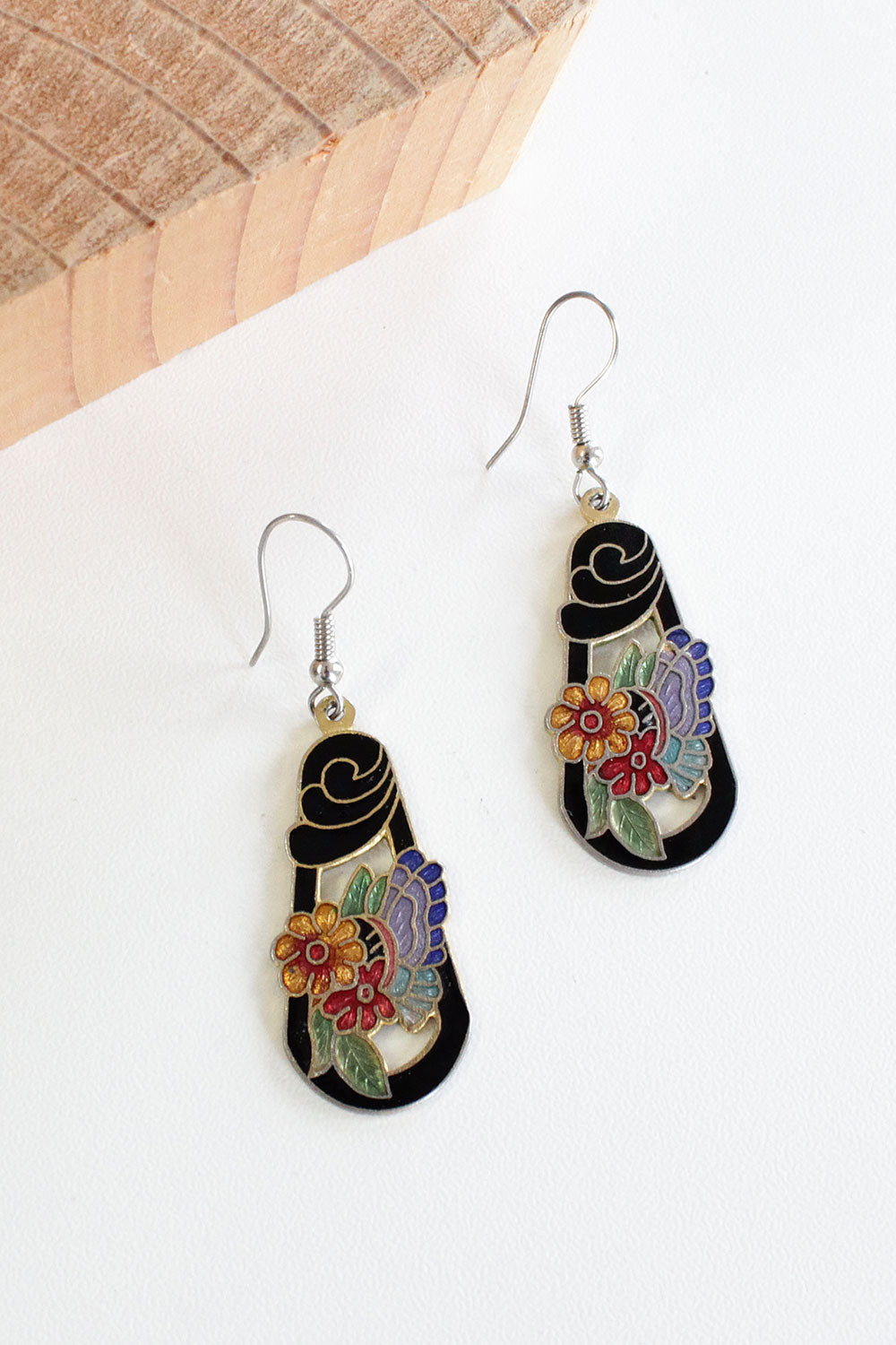 Butterfly Enamel Dangle Earrings