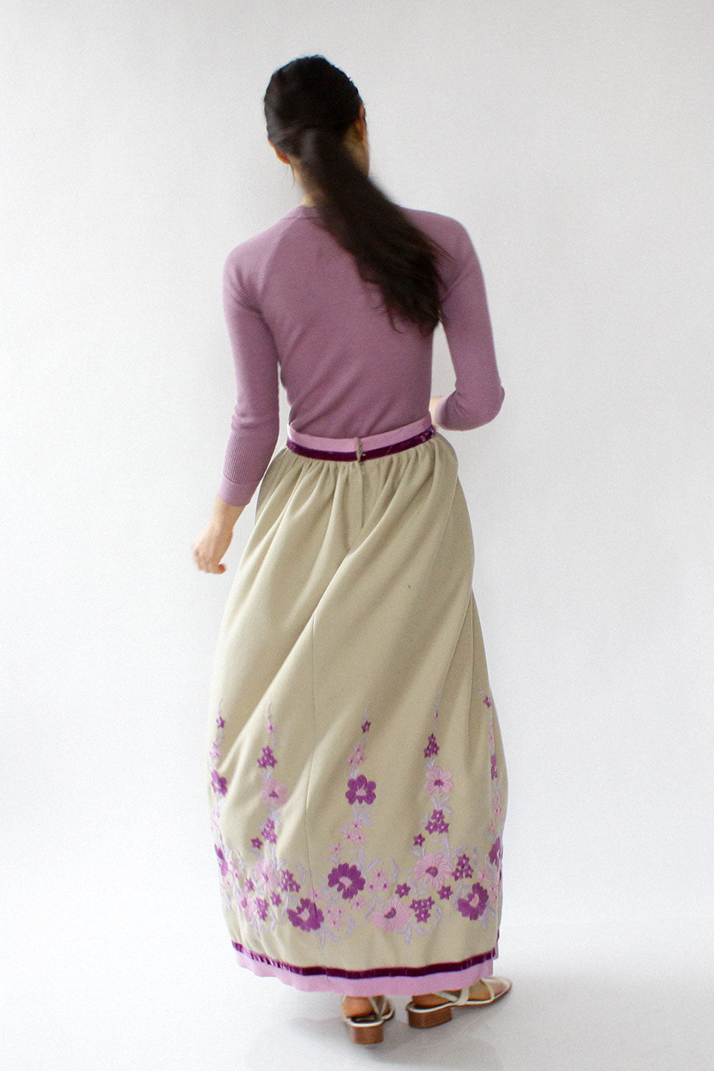 Victor Costa Embroidered Maxi Skirt