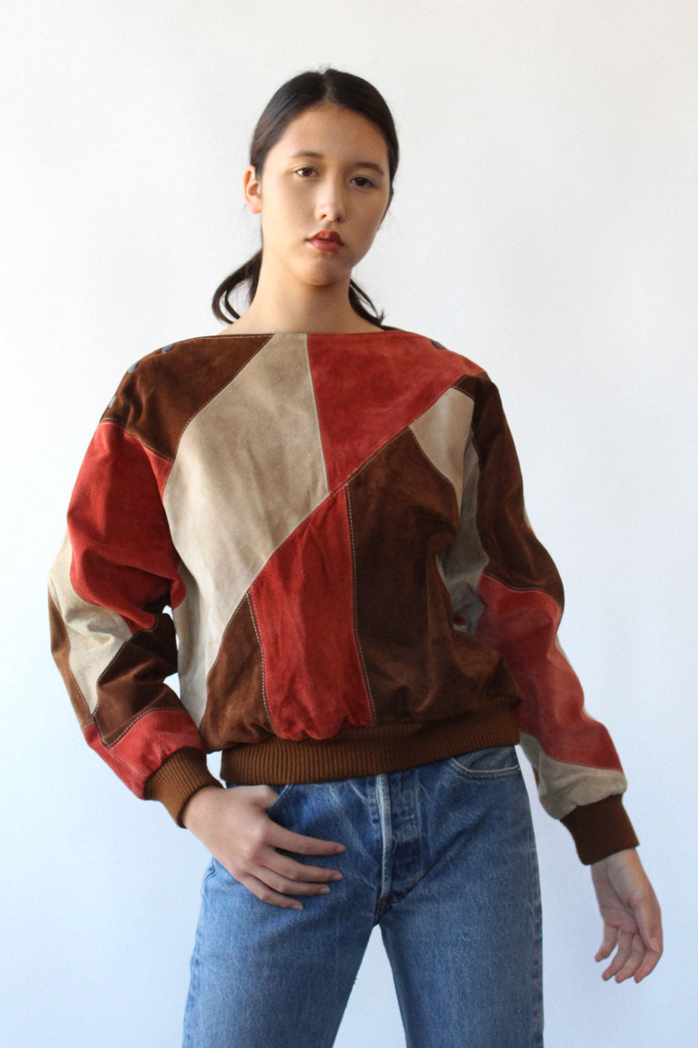 Suede Patchwork Pullover S/M