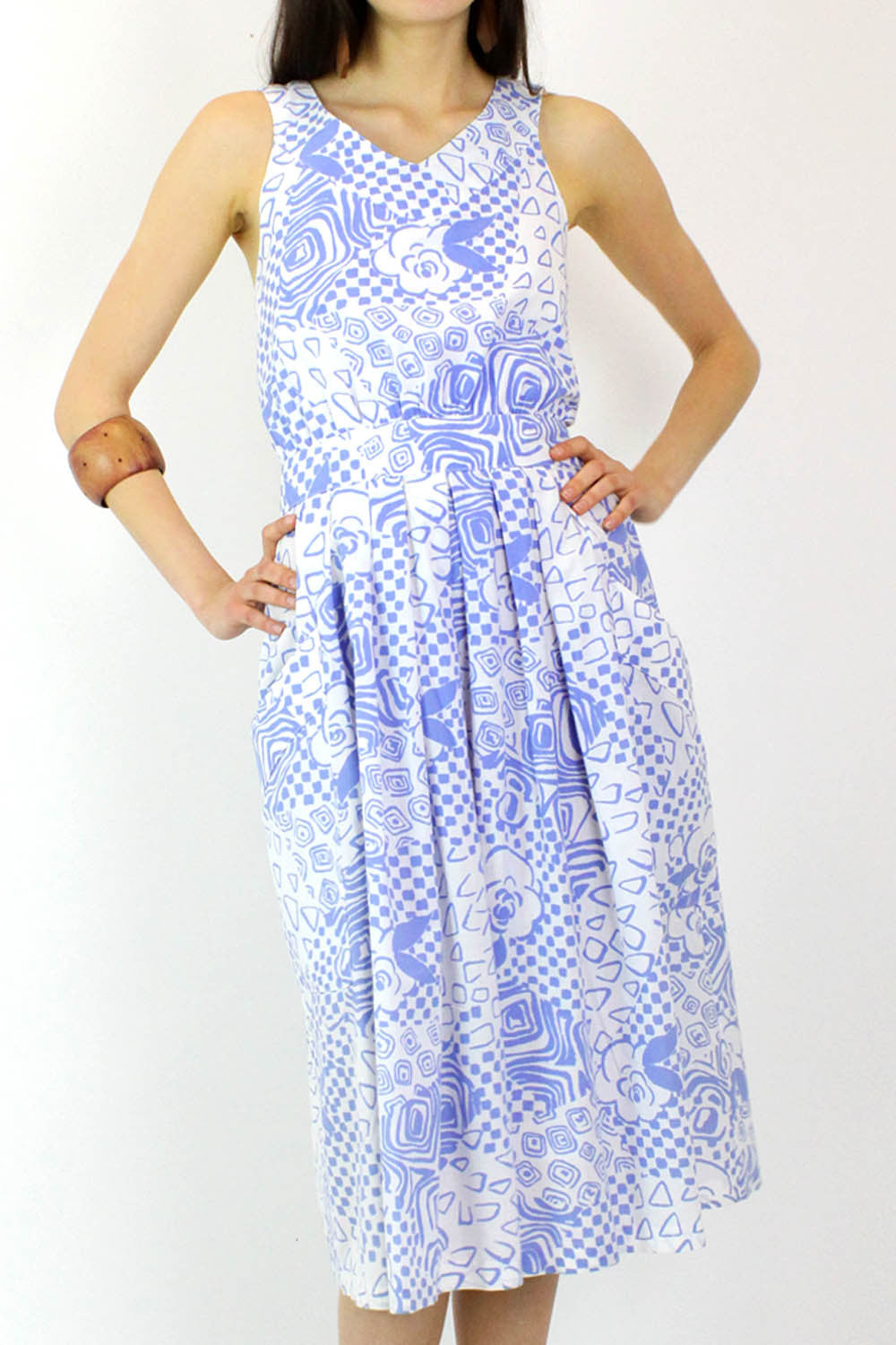 Periwinkle Pattern Cotton Dress M
