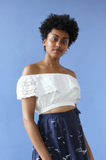 Cotton Eyelet Ruffle Crop Top S/M