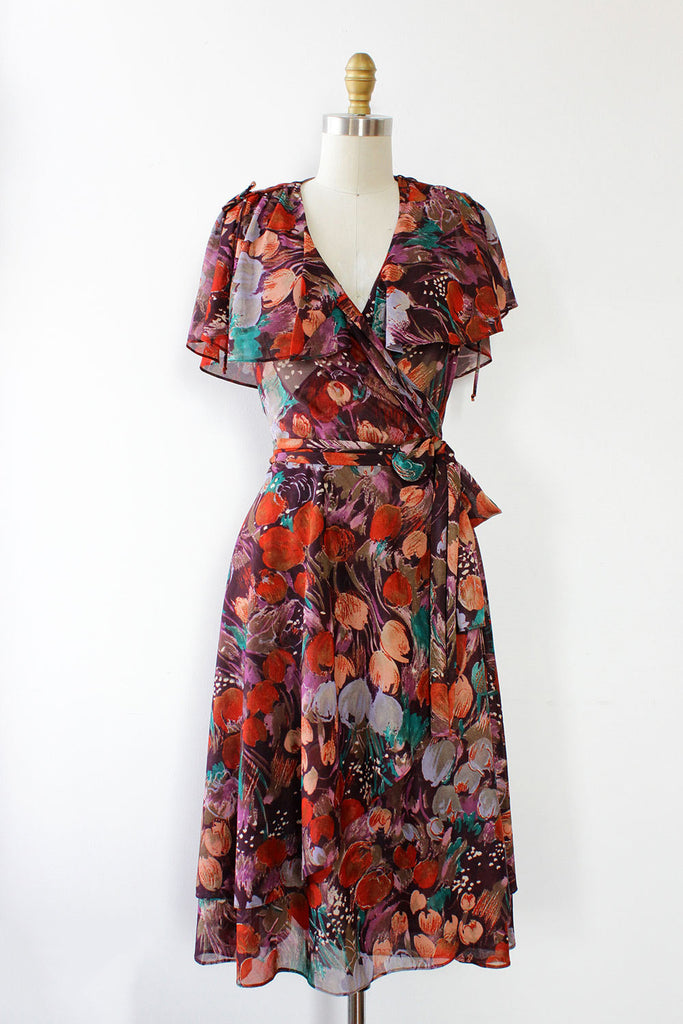 Painterly Floral Wrap Dress S/M