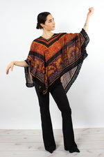 Sheer Jeweltone Fringe Poncho