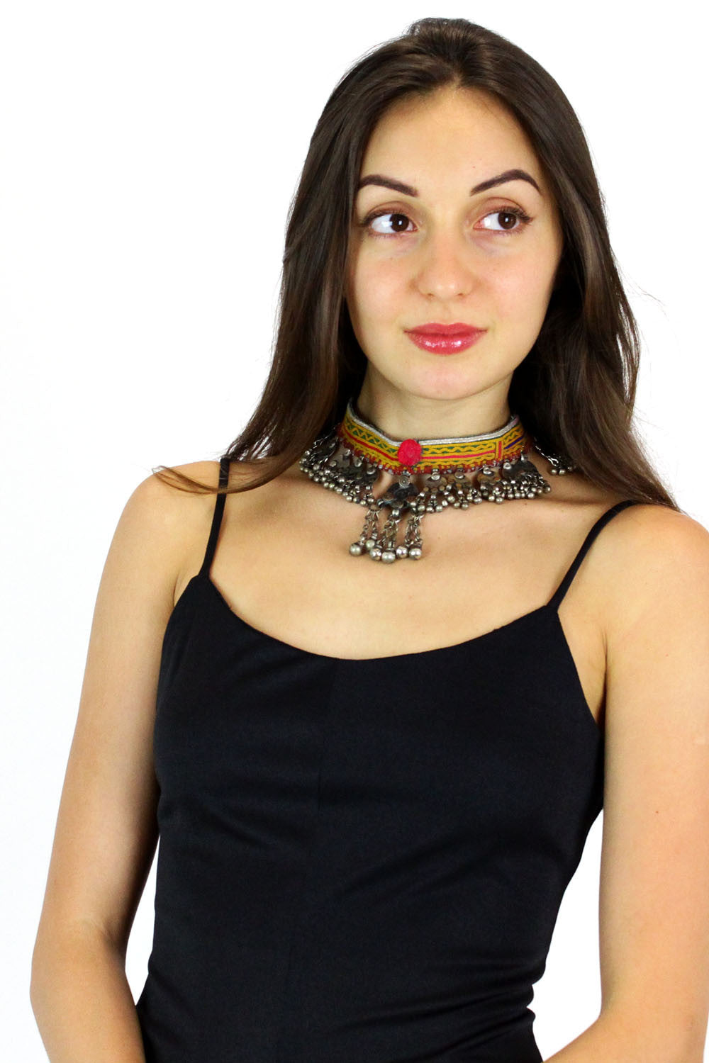 embroidered tribal choker with bells