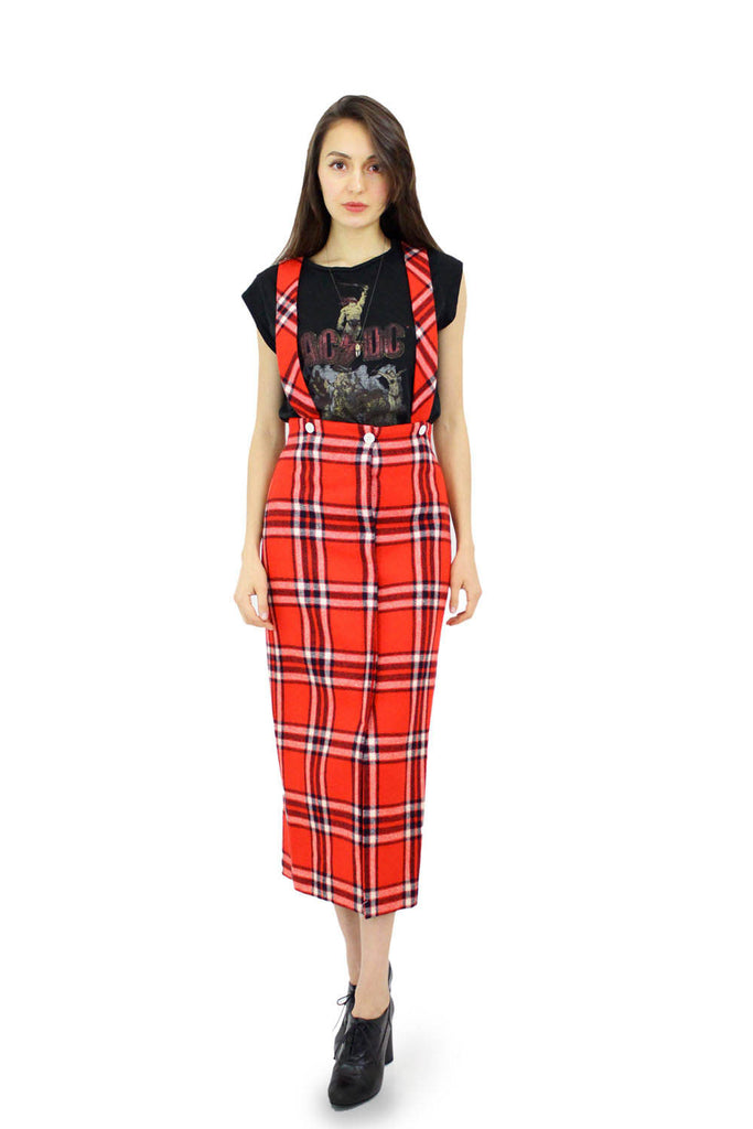 plaid suspender dress