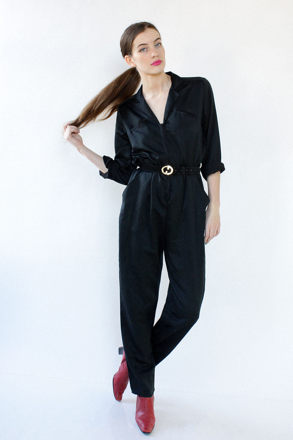Black Satin Flightsuit S/M/L