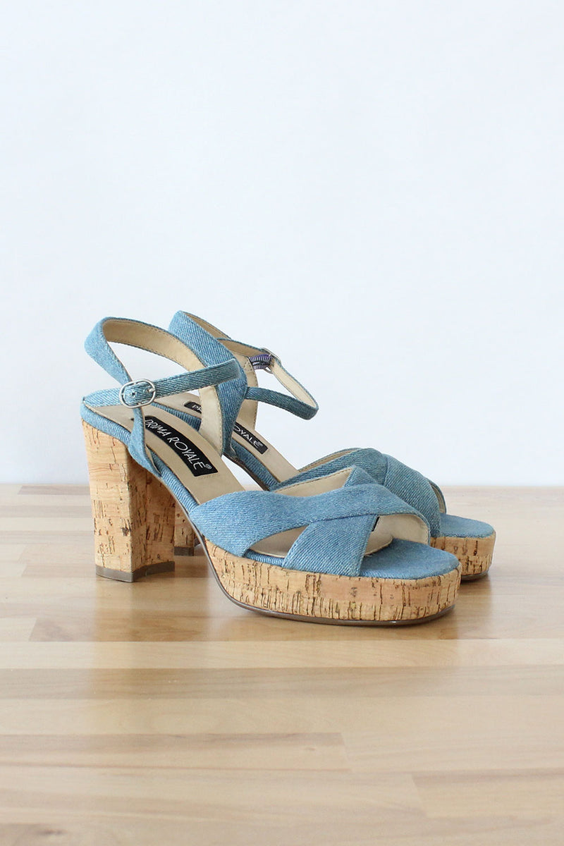 Denim Cork Platforms 7