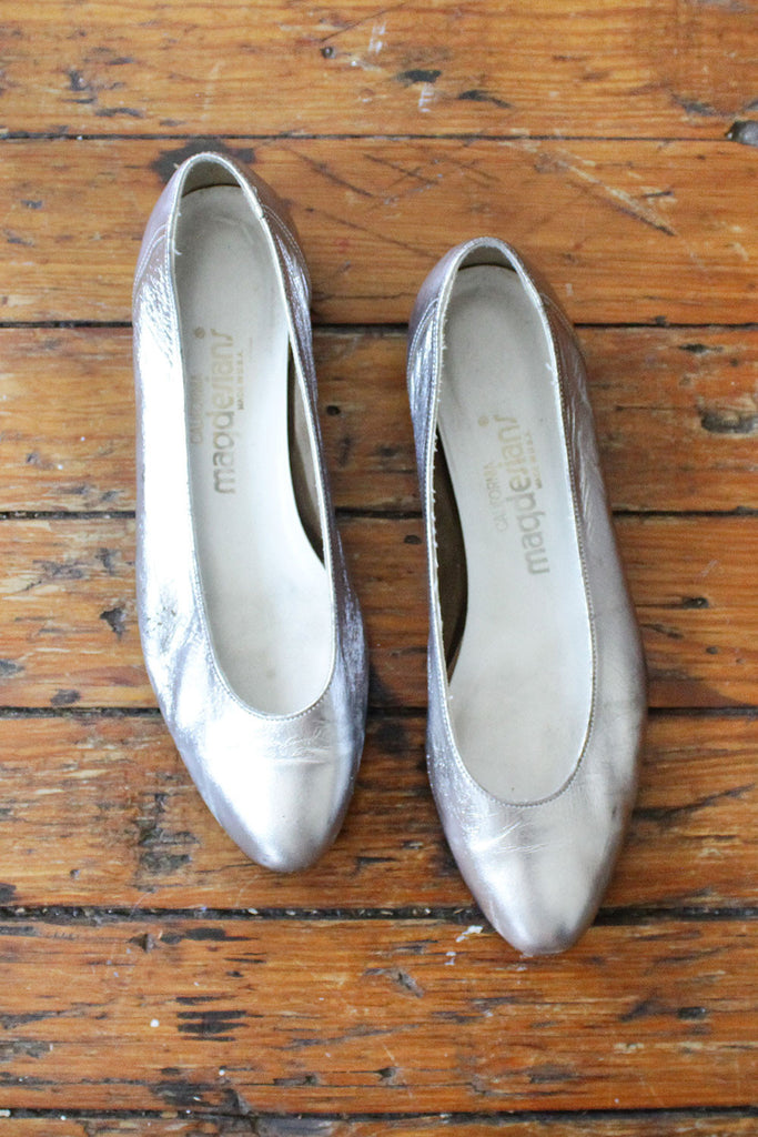 Silver Leather Slippers 8 1/2