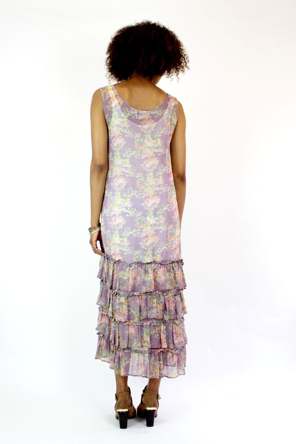 ruffled sheer dress S/M
