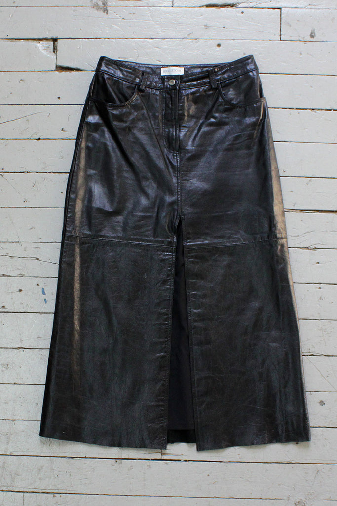 HOLD - Black Leather Slit Skirt M