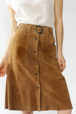 Toffee Suede Snap Skirt XS