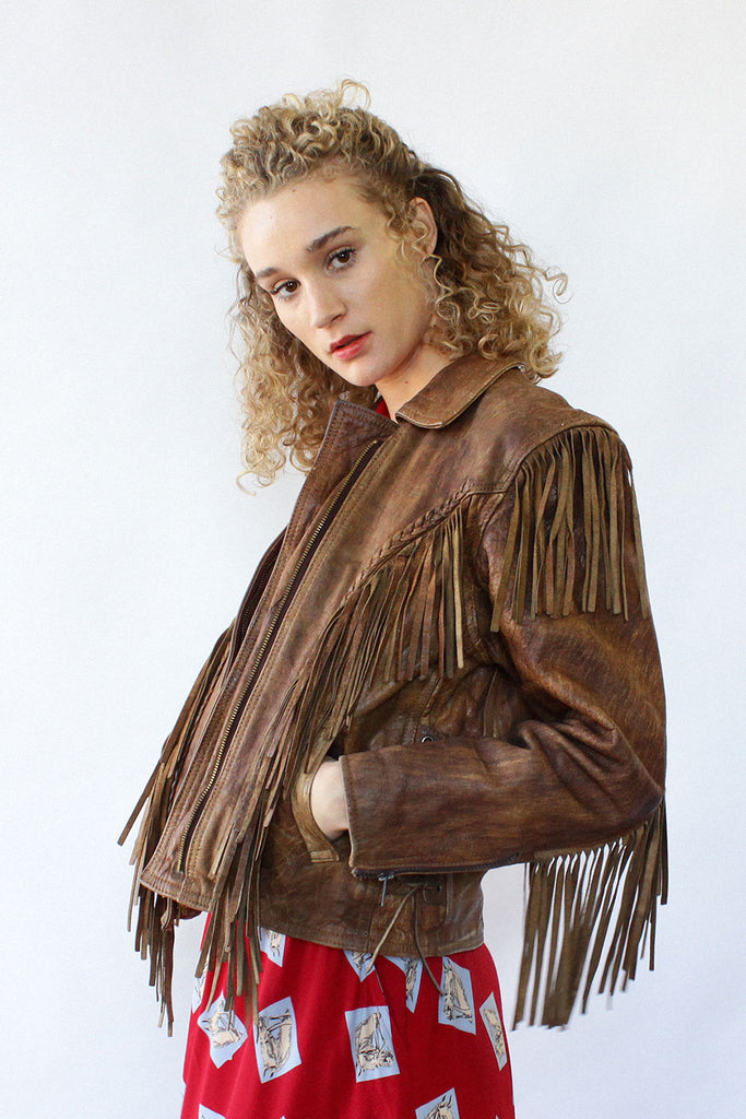 Braided Leather Fringe Jacket S/M