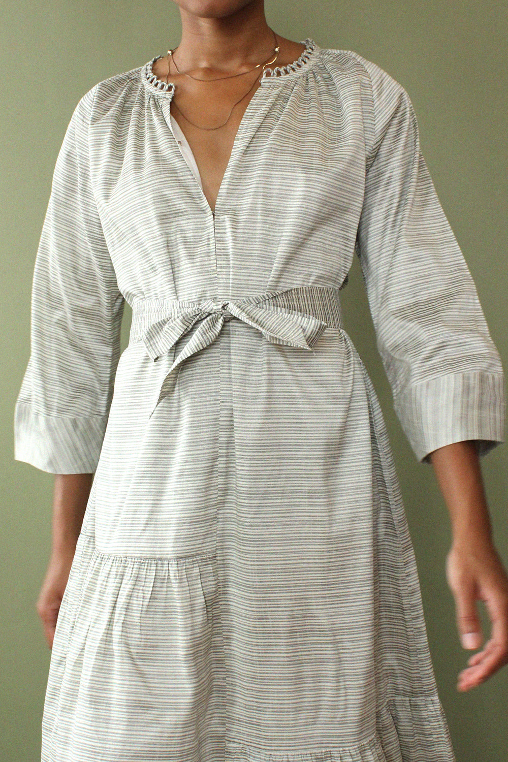 Silver Stripe Smock Dress S-L