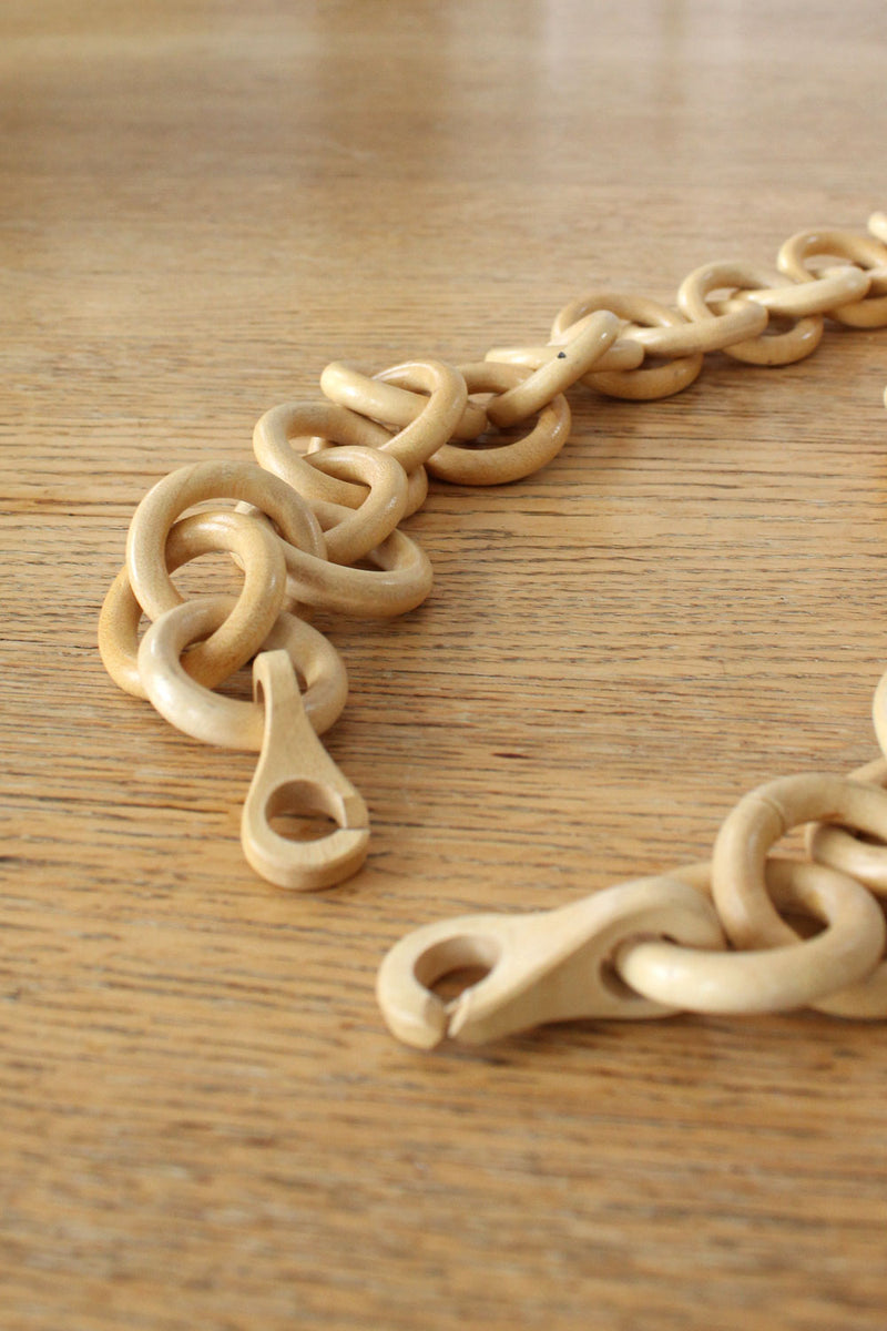 Hand Carved Wooden Chain Necklace