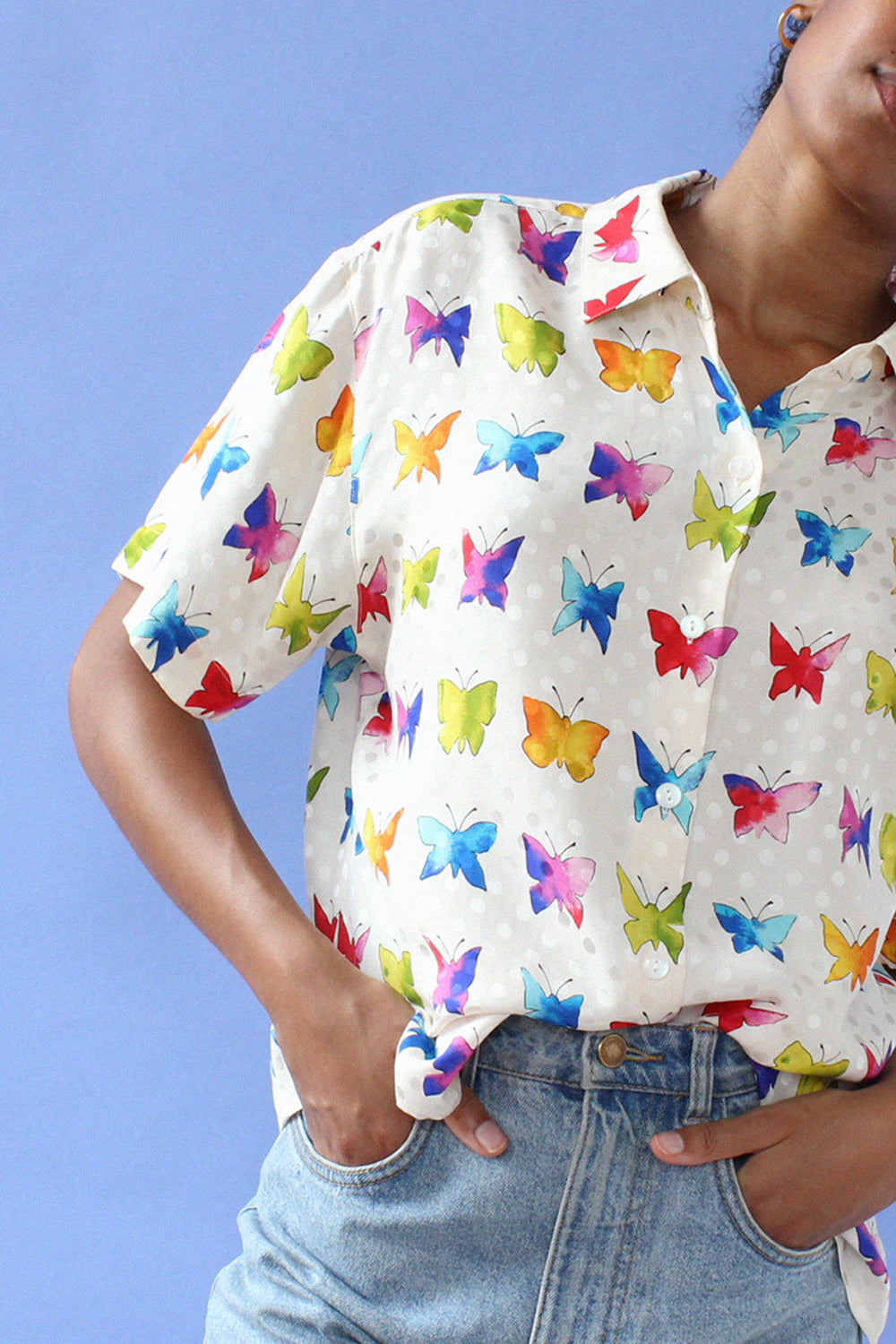 Silk Rainbow Butterfly Blouse S-L