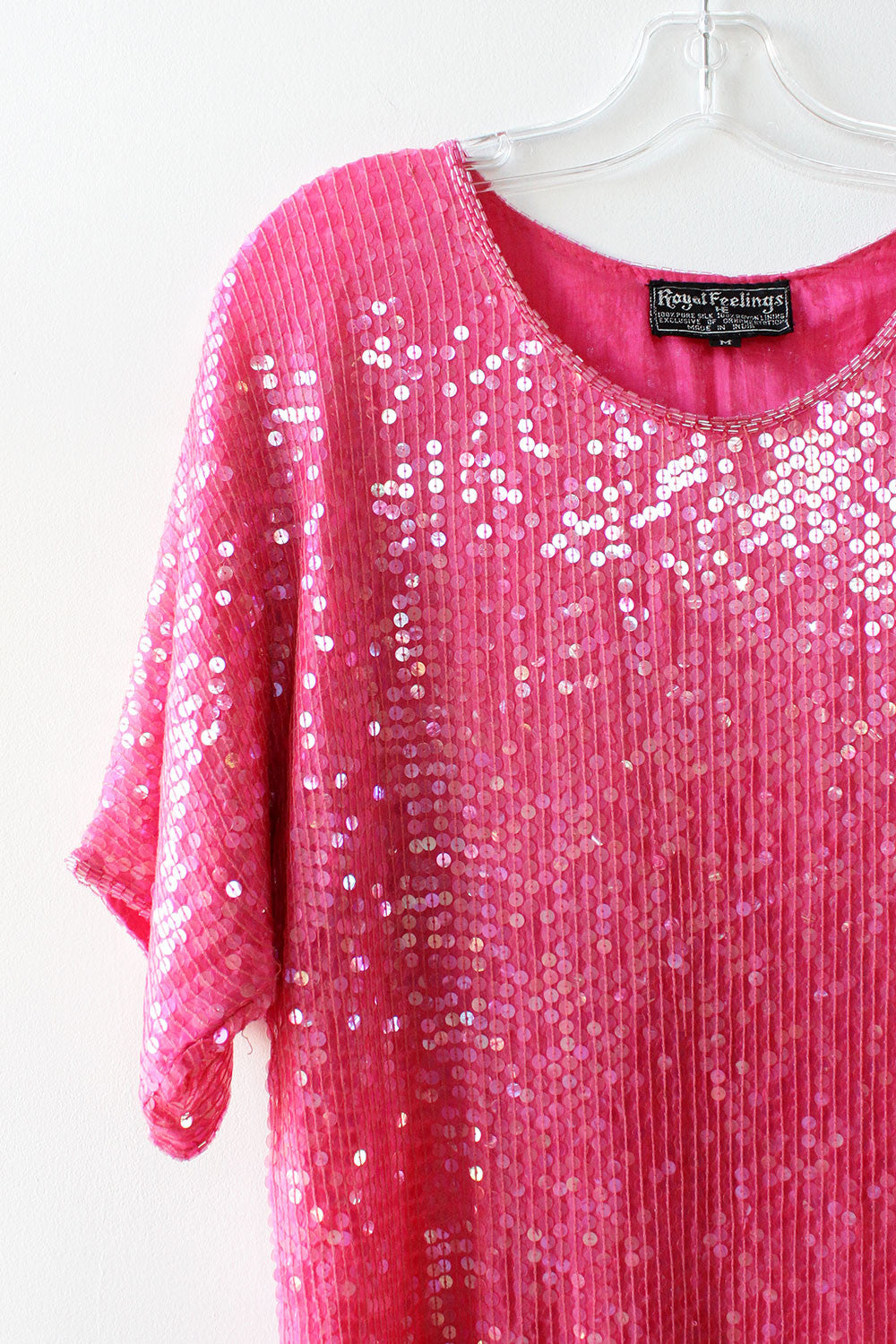 Bubblegum Sequin Silk Dress S/M