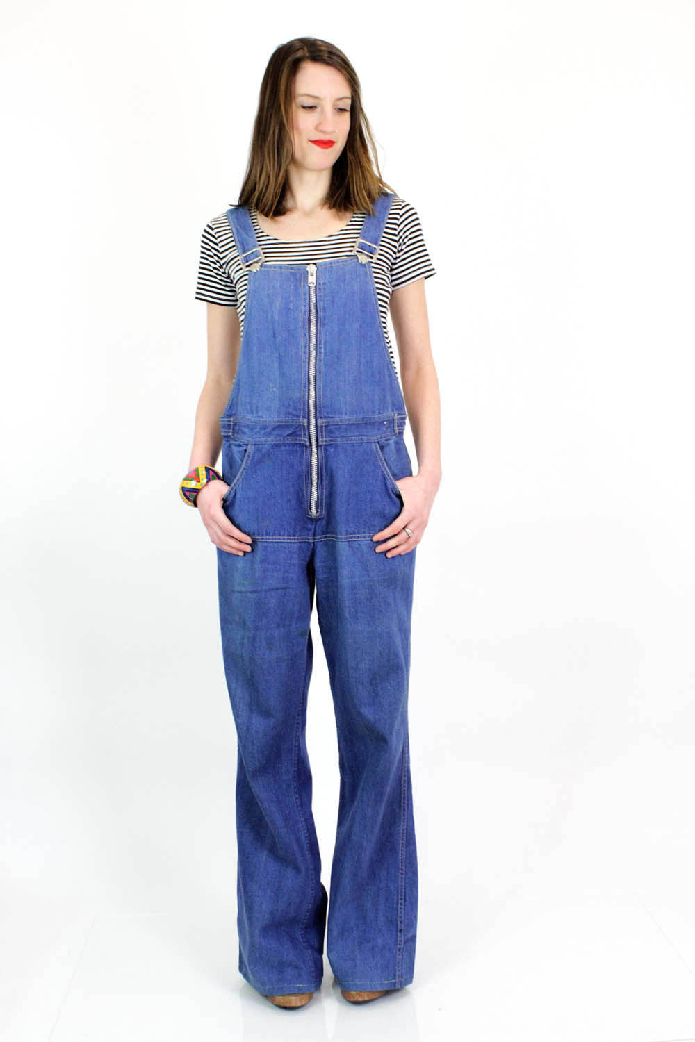 70s Chess King Denim Overalls M