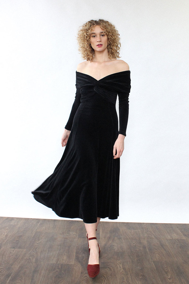 Wrapped Velvet Flare Dress XS/S