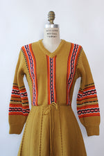 Mustard Folksy Wool Dress S/M