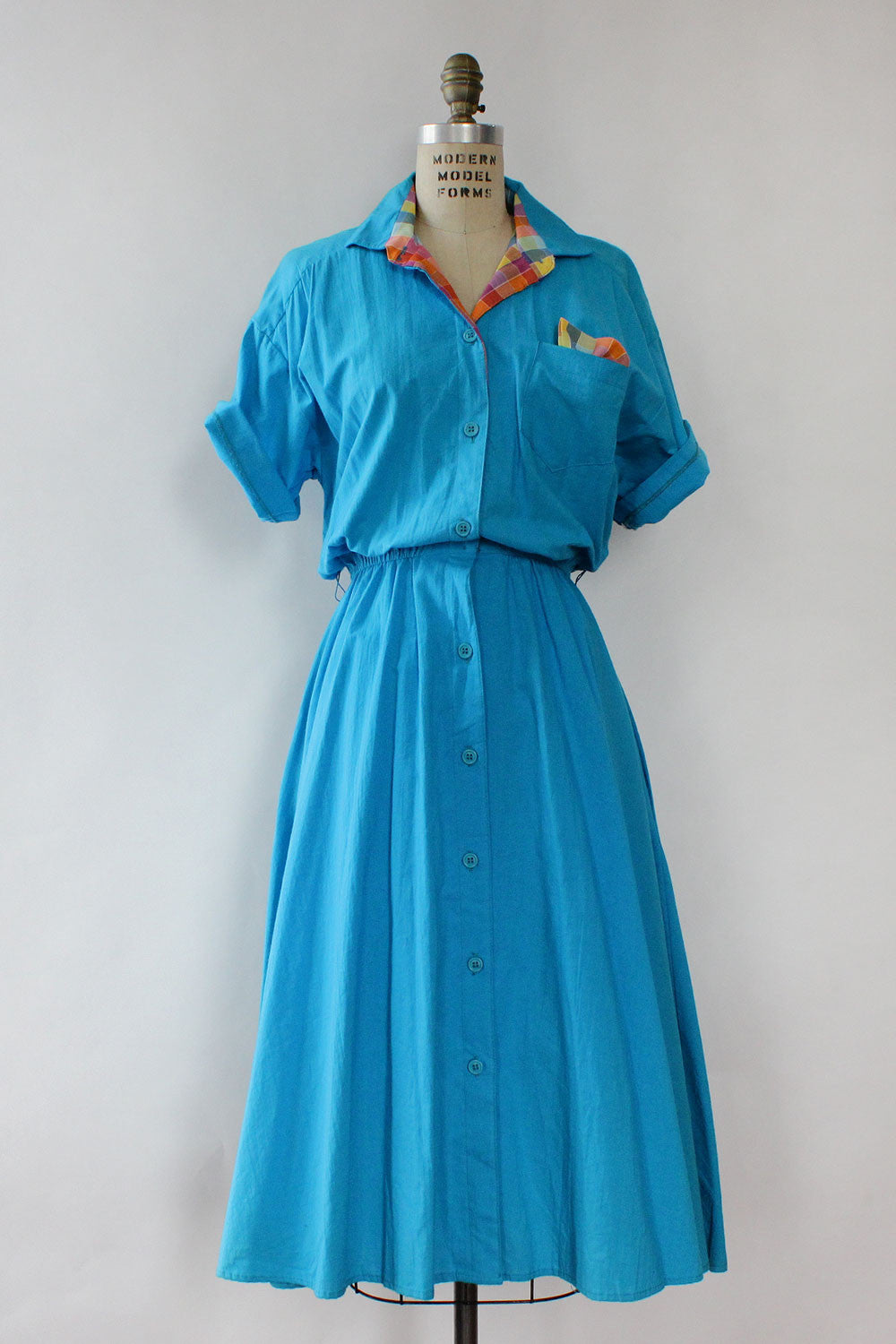 Lake Blue Cotton Shirtdress S/M