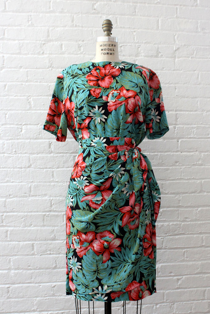 Summer Nights Silk Tropical Dress M/L