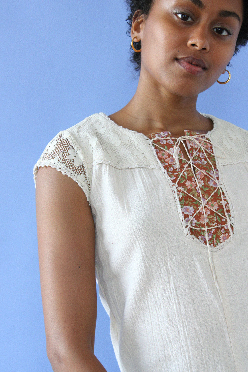 Cream Crinkle Lace-up Top XS/S
